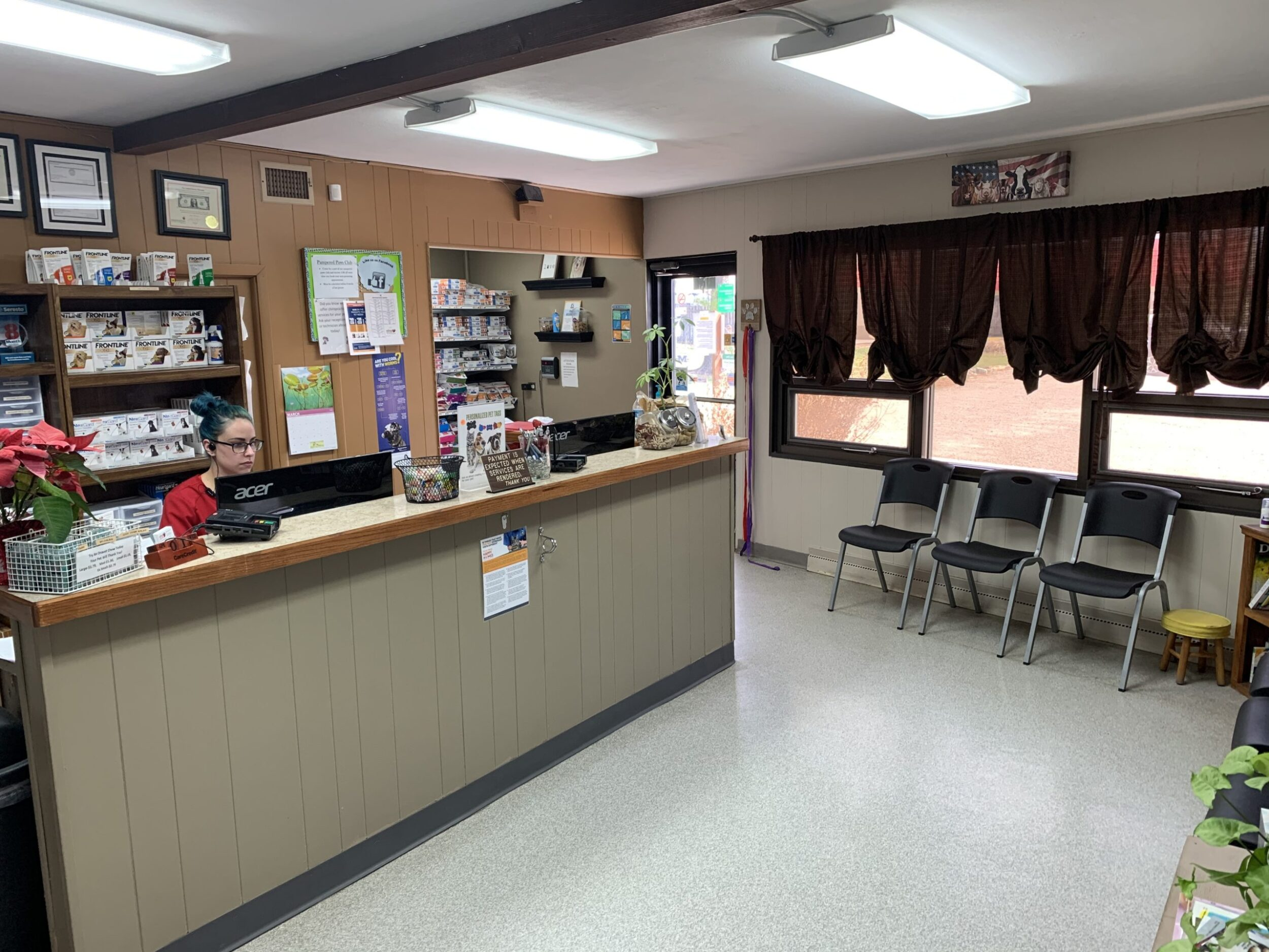 The waiting room/entrance where you will be greeted by our friendly staff and directed where to go.