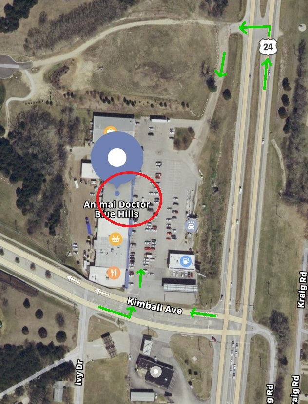 The green arrows represent the route to take to access our parking lot. We have two main entrances to our parking lot as shown.