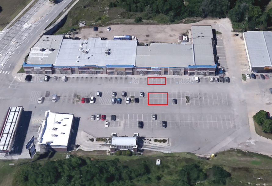 The red boxes represent the parking areas designated for customers. There are three areas in which customers may park to easily access our facility.